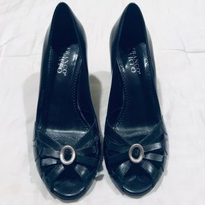 Franco Sarto black peep toe heels leather uppers 8